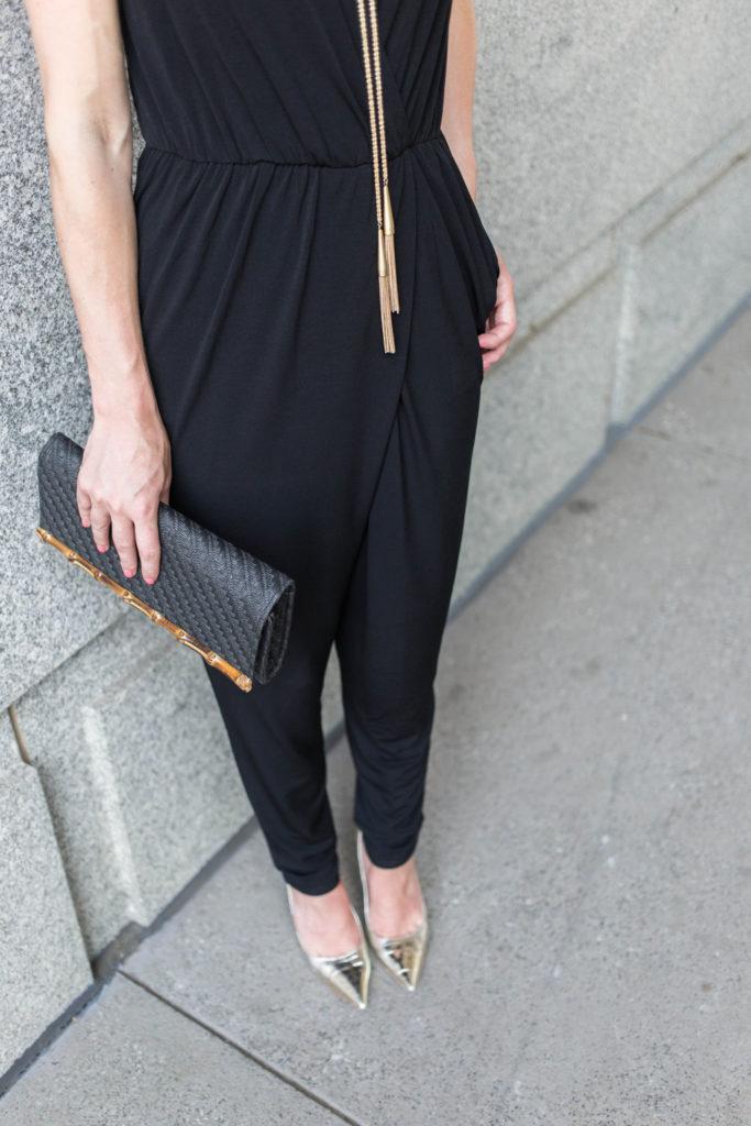 Black BCBG jumpsuit classic gold accessories
