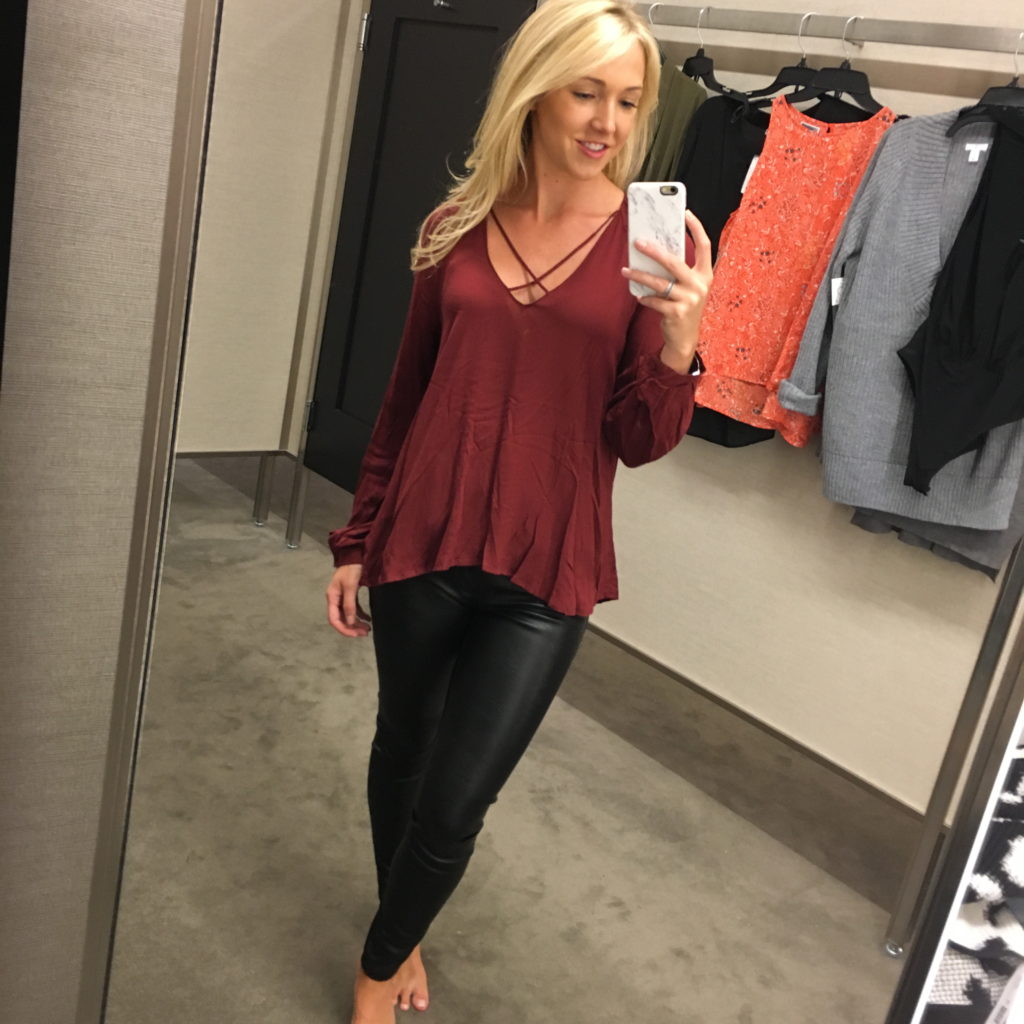 Blouse + Faux Leather Leggings
