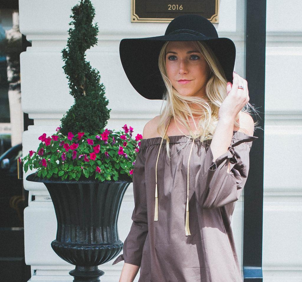 Nicole-Alexander off the shoulder dress fall fashion in Nashville