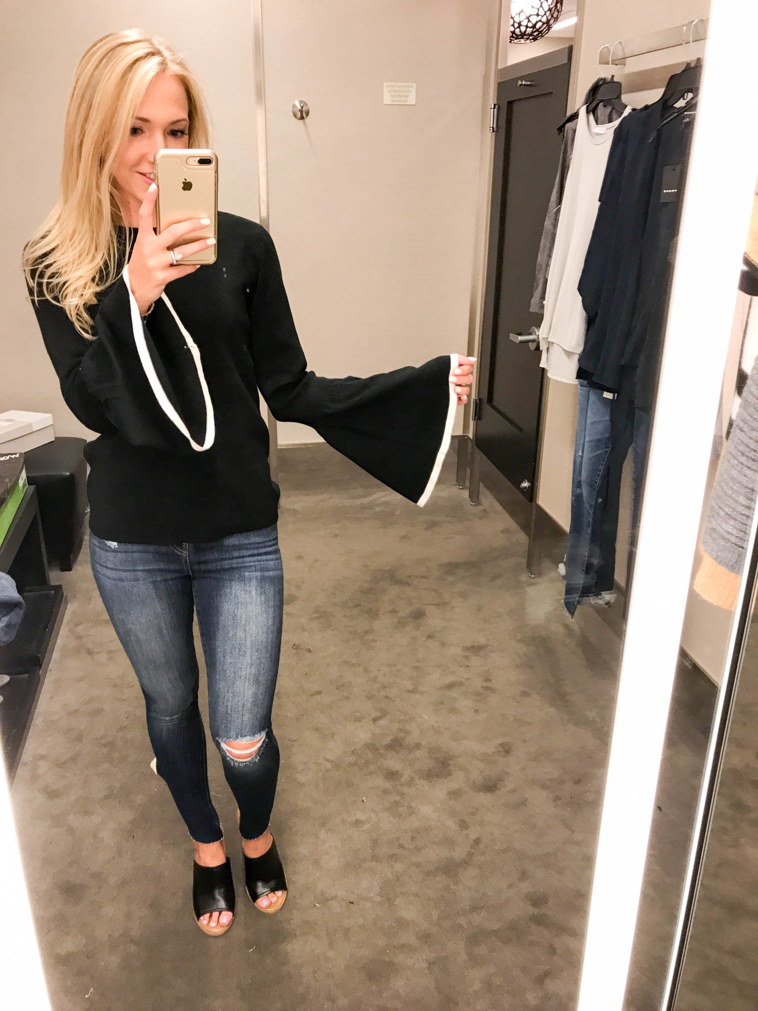 Black Bell Sleeve Sweater-5