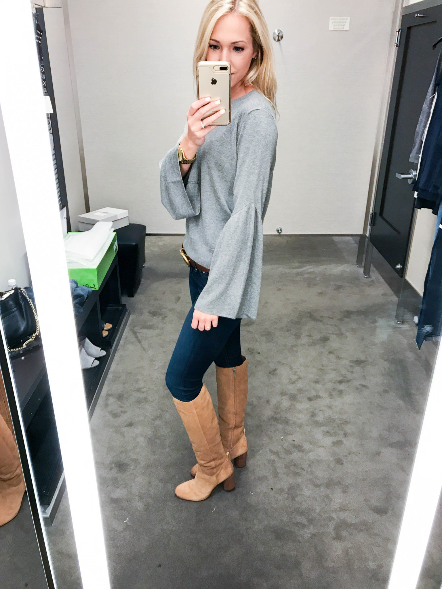 Grey Bell Sleeve Sweater-1