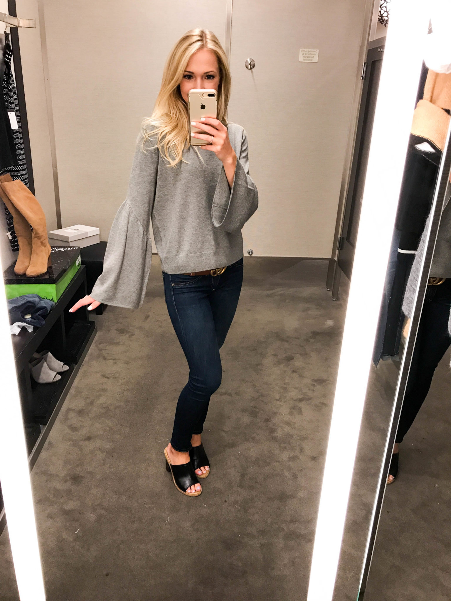 Grey Bell Sleeve Sweater-3