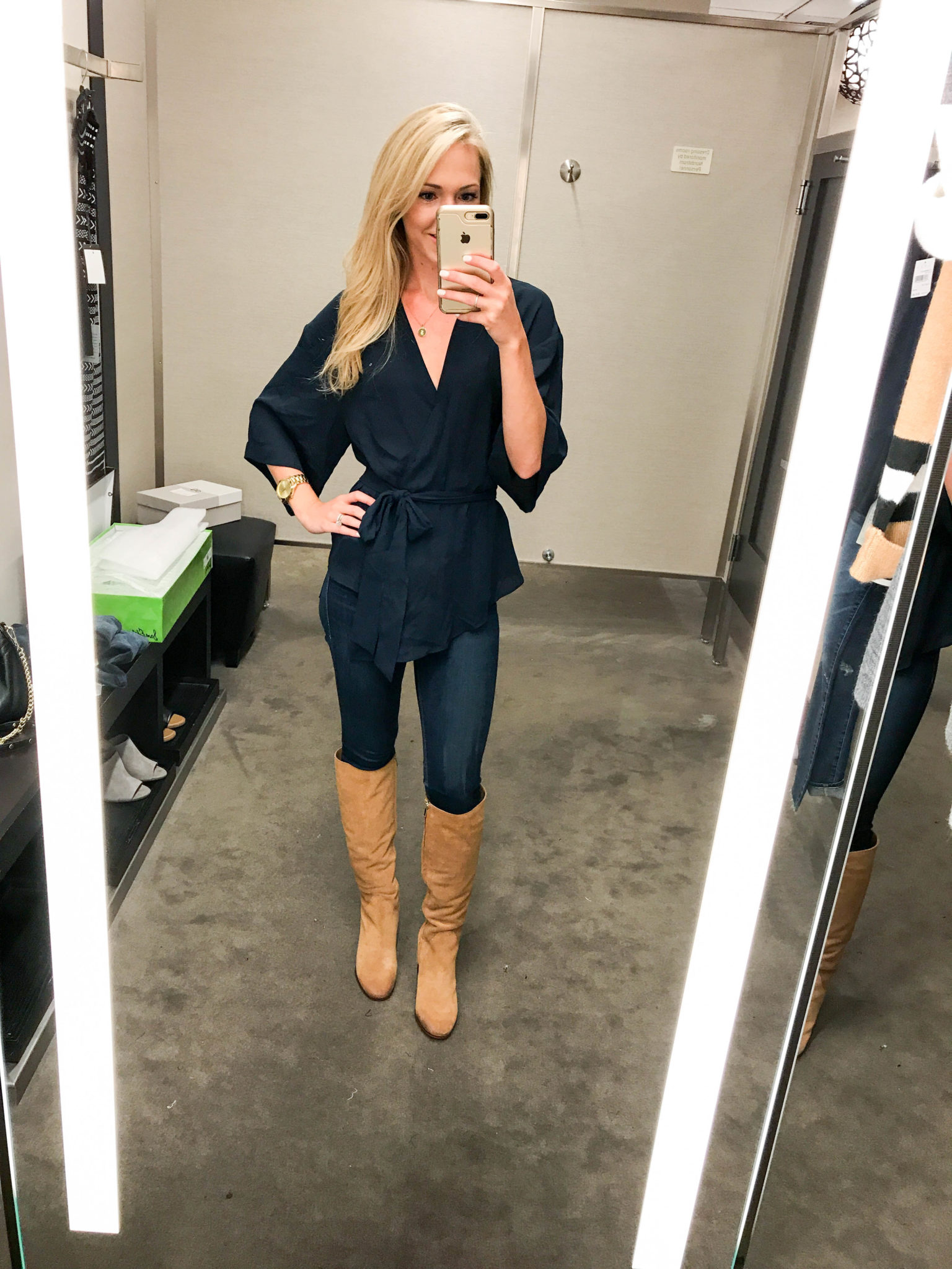 Navy Wrap Top-1