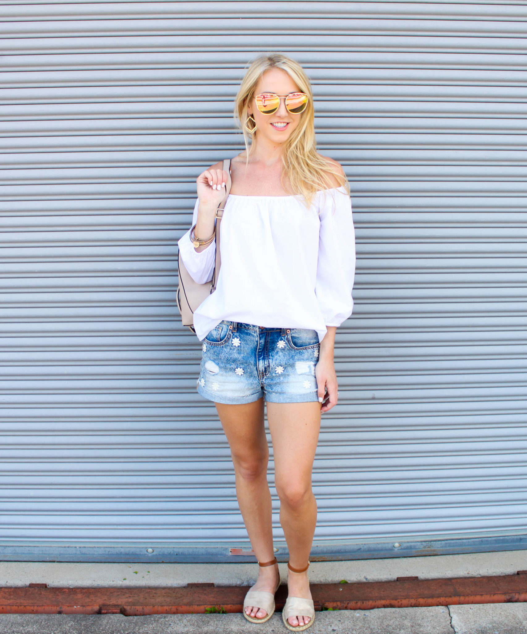 White OTS top - denim shorts 2