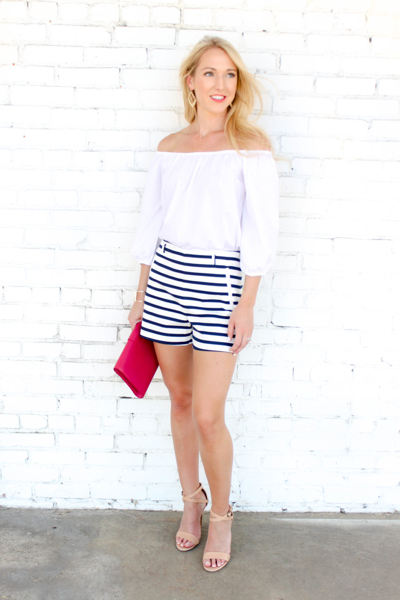 White OTS top - stripe shorts